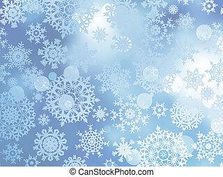 blauwe , kerstmis, met, snowflakes., eps, tien
