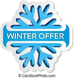 blauwe , kerstmis, winter, aanbod, sticker, -, verkoop, symbool, papier, vector, achtergrond, witte , etiket, sneeuwvlok