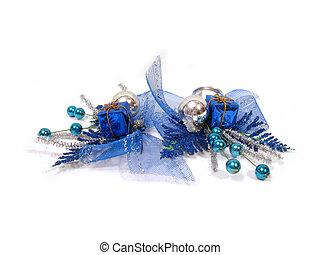 blauwe , kerstversiering, doosje, met, handbell, en, gelul