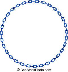 blauwe , ketting, in vorm, van, cirkel