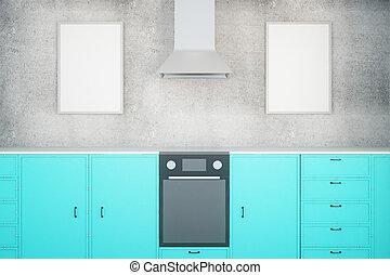 blauwe , keuken, met, lijstjes