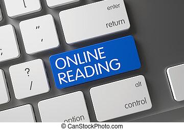 blauwe , keyboard., lezende , klee, online