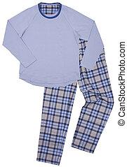 blauwe , kinderen, pajamas., vrijstaand, op, een, witte