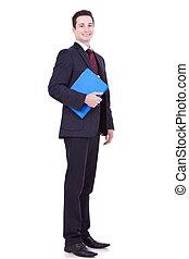 blauwe , klembord, jonge, zakenmens