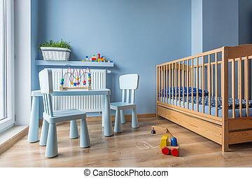 blauwe , kleur, baby, kamer, licht