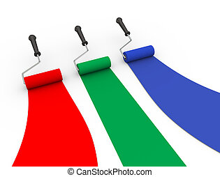 blauwe , kleur, groene, borstel, 3d, rol, rood