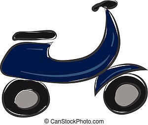 blauwe , kleur, illustratie, vector, motorfiets, of