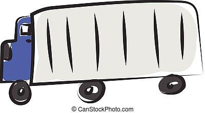 blauwe , kleur, illustratie, vector, vrachtwagen, of