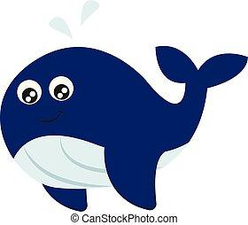 blauwe , kleur, illustratie, vector, walvis, het glimlachen,...