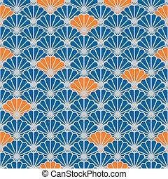 blauwe , kleur, model, japanner, seamless, vector, ventilator, sinaasappel, style.