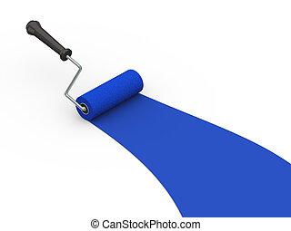 blauwe , kleur, verfborstel, rol, 3d