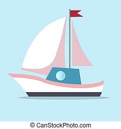 blauwe , kleur, vrijstaand, white-pink, achtergrond, zeilen, scheepje