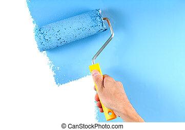 blauwe , kleuren schilderstuk, muur, met, rol