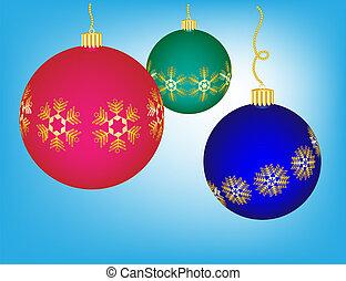 blauwe , kleurrijke, goud, accenten, versieringen, kerstmis, achtergrond, sneeuwvlok