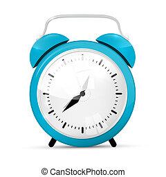 blauwe , klok, achtergrond, vrijstaand, vector, waarschuwing, witte