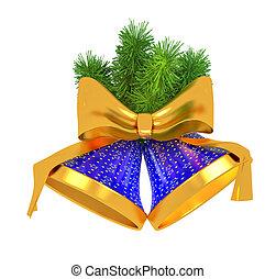 blauwe klokken, met, kerstboom