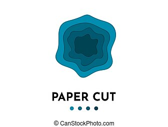 blauwe , knippen, abstract, shapes., golf, papier, achtergrond, 3d