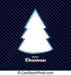 blauwe , knippen, boompje, achtergrond, kerstmis, uit