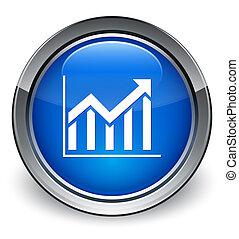 blauwe , knoop, statistiek, glanzend, pictogram