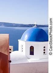 blauwe koepel, kerken, en, classieke, cyclades,...