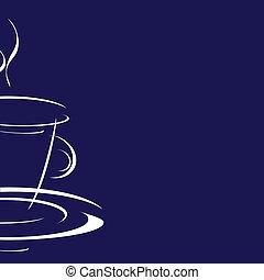 blauwe , koffie, achtergrond, kop