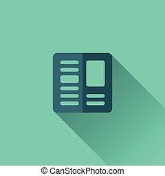 blauwe, krant, pictogram, Ontwerp, plat