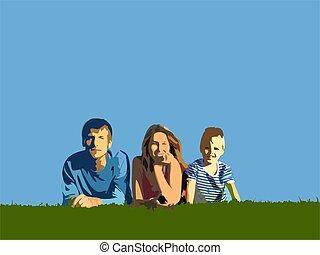blauwe , kruid, hemel, gezin, onder