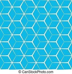 blauwe , kubiek, model, abstract, seamless, achtergrond
