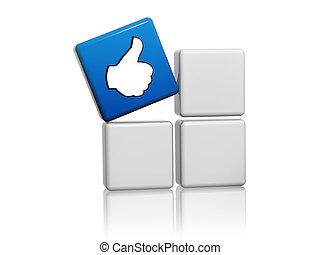 blauwe , kubus, met, zoals, meldingsbord, op, dozen
