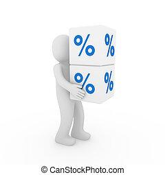 blauwe , kubus, verkoop, menselijk, witte , 3d