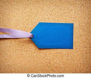 blauwe , label, met, ruimte, voor, tekst
