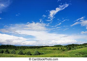 blauwe , landscape, hemel