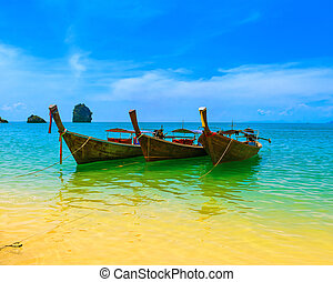 blauwe , landschap, landscape, boat., natuur, houten, resort., reizen, eiland, hemel, tropische , traditionele , mooi, paradijs, thailand, strand, summer., water