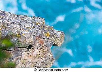 blauwe , langs, cantabrian, zee, rotsen