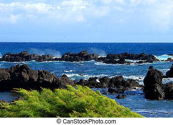 blauwe , laupahoehoe, horizon
