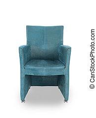 blauwe , leder, eetkamer, stoel