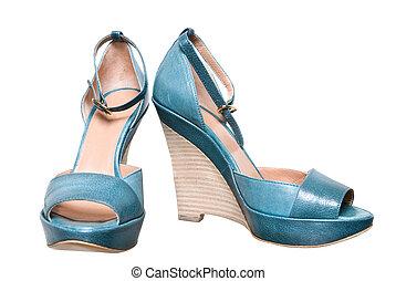 blauwe , leder, vrouwlijk, schoentjes, vrijstaand, op wit