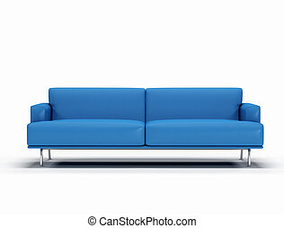 blauwe , lederene sofa, op wit, achtergrond, -, digitale ,...