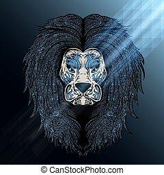blauwe , leeuw, maan