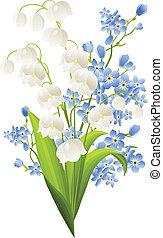 blauwe , lelies, bloemen, vrijstaand, witte , vallei