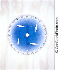 blauwe , lemmet, zaag, illustratie