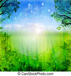 blauwe , lente, groene achtergrond