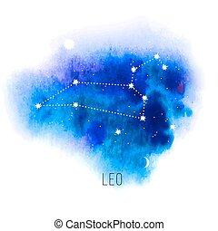 blauwe , leo, watercolor, achtergrond, meldingsbord, astrologie