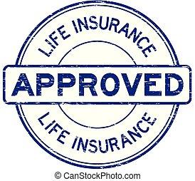 blauwe , leven, grunge, postzegel, ronde, rubber, verzekering, zeehondje, goedgekeurd