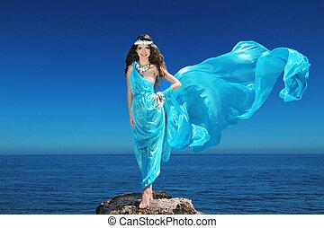 blauwe , leven, mode, hemel, enjoyment., op, vrouw, luxe, blazen, model, jurkje, outdoors., vrolijke