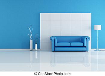 blauwe , levend, wite kamer
