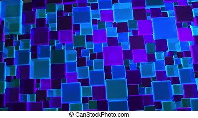 blauwe lichten, blokje, neon, achtergrond