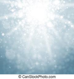 blauwe lichten, hemel, blurry, vonkeelt