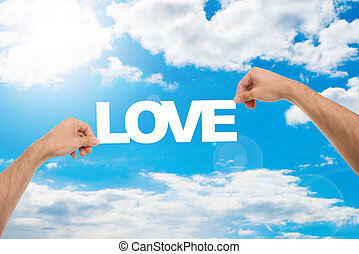 blauwe , liefde, hemel, tegen, man's, bewolkt, holdingshanden