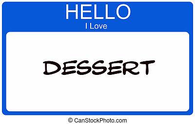 blauwe , liefde, naam, dessert, label, hallo